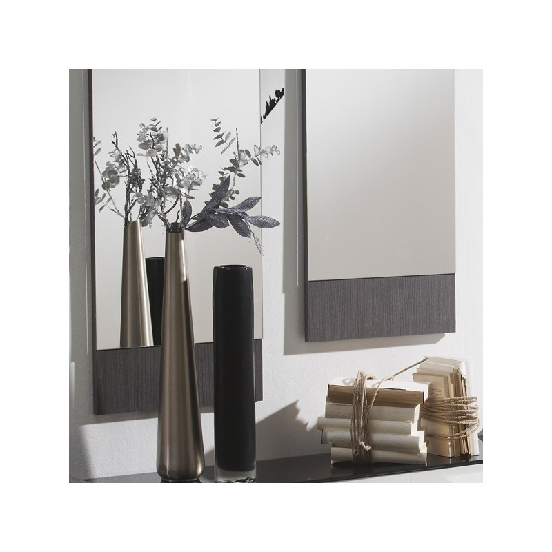 meuble d 39 entr e blanc cendre miroirs millesime petits meubles. Black Bedroom Furniture Sets. Home Design Ideas