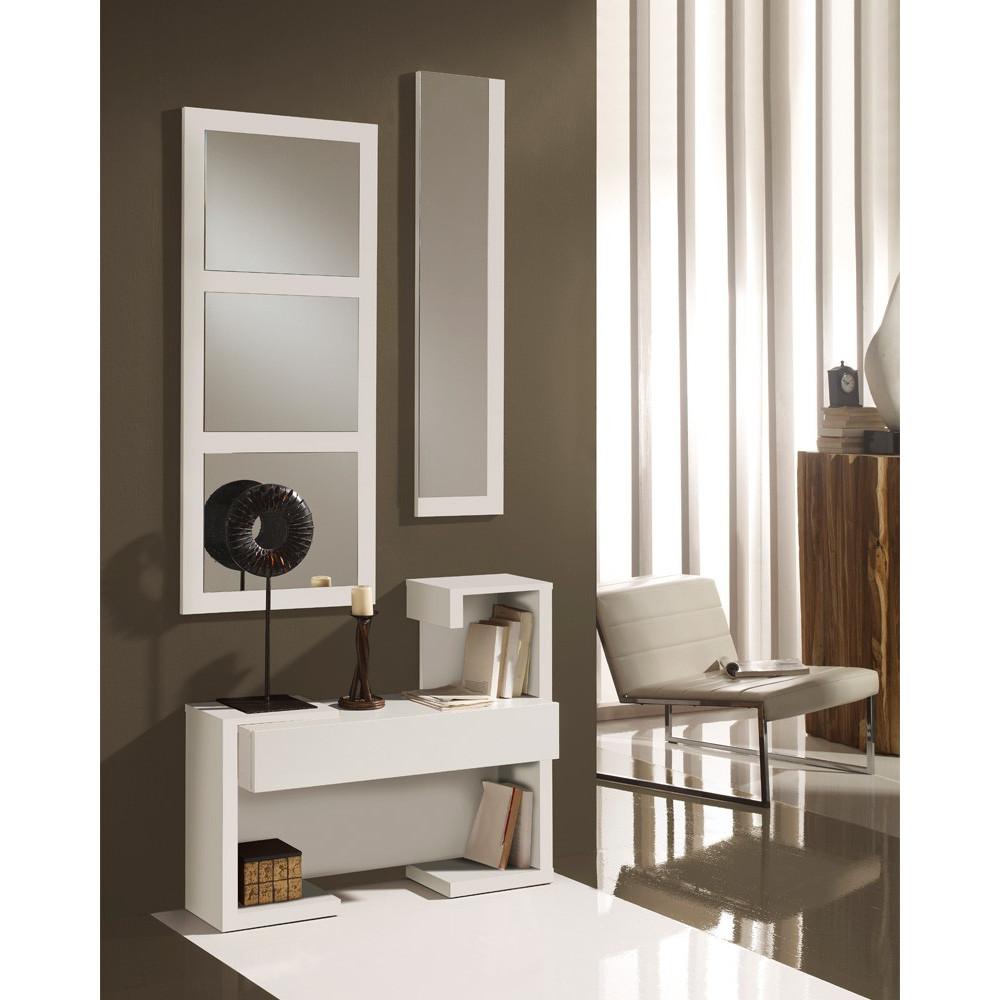 Meuble d'entrée Blanc Laque + miroirs - PARIS