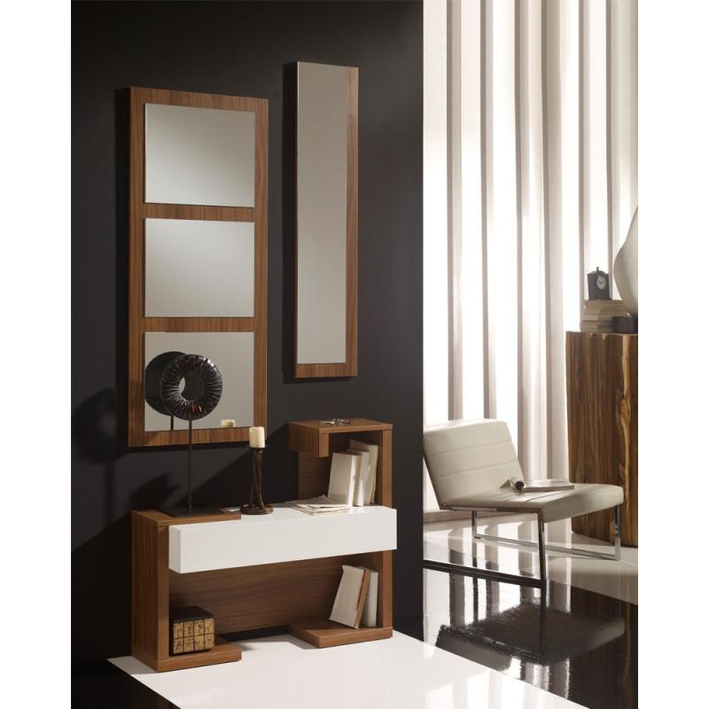 Meuble d'entrée Blanc/Noyer + miroirs - PARIS