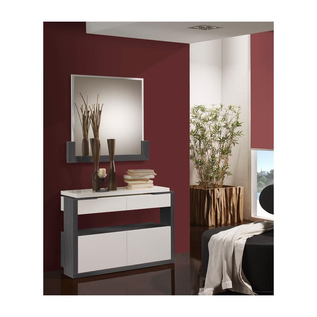 meuble d 39 entr e blanc cendre miroir jungo univers petits meubles. Black Bedroom Furniture Sets. Home Design Ideas