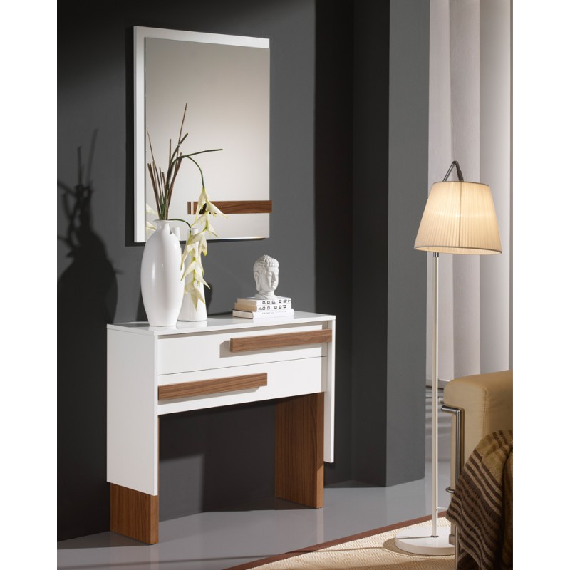 meuble d 39 entr e blanc noyer miroir izmere univers. Black Bedroom Furniture Sets. Home Design Ideas