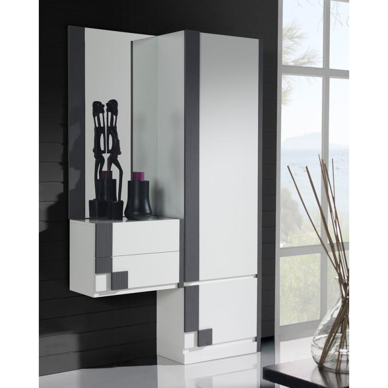 Meuble d'entrée + armoire + miroir Blanc/Cendre -  PAOULA