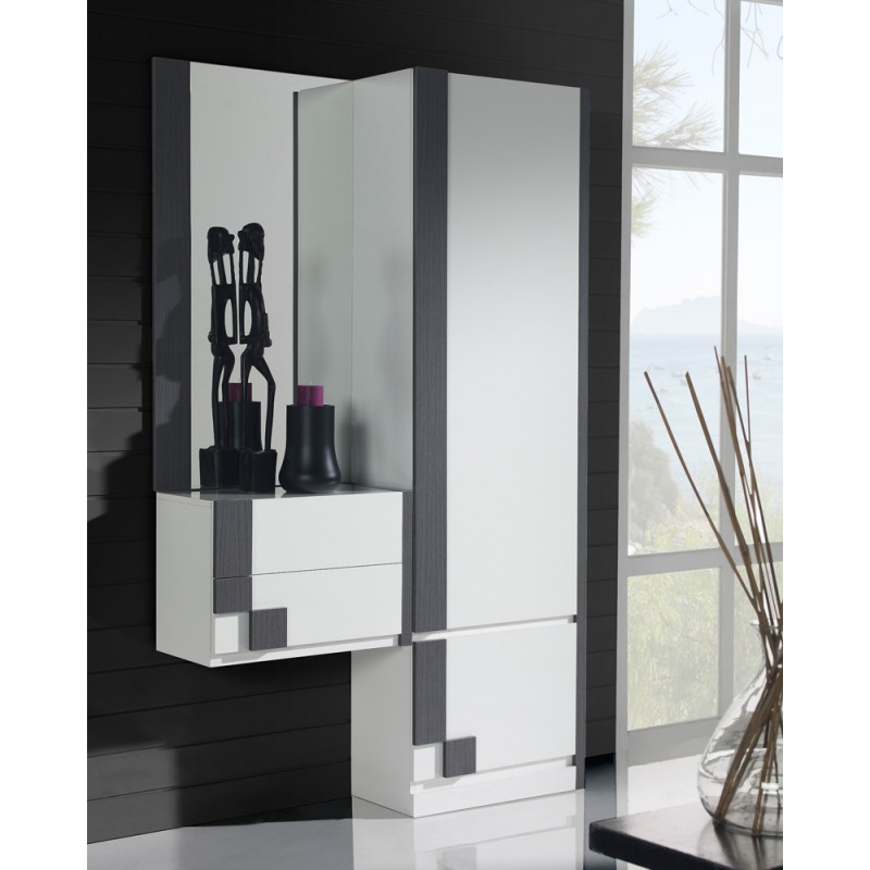 meuble d 39 entr e armoire miroir blanc cendre paoula. Black Bedroom Furniture Sets. Home Design Ideas