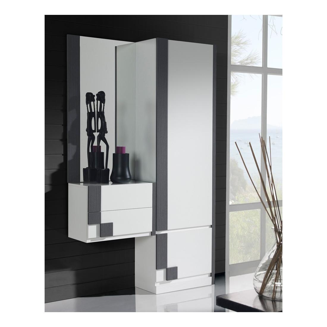 Meuble d 39 entr e armoire miroir blanc cendre paoula - Meuble d entree miroir ...