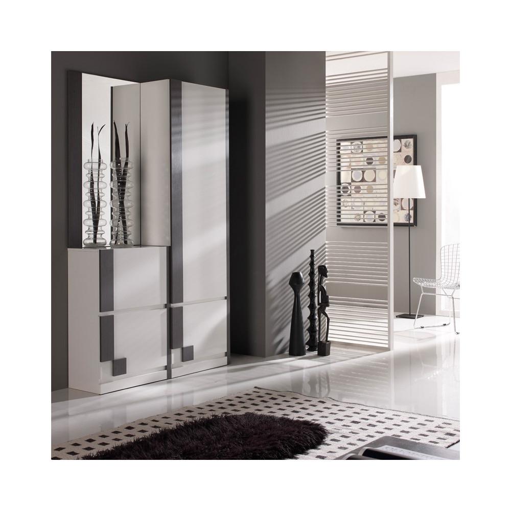 Meuble d'entrée Blanc/Cendre + armoire + miroir - SLIMAN n°1