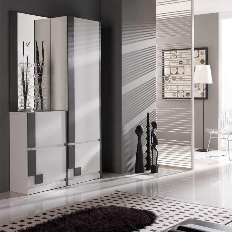 meuble d 39 entr e blanc cendre armoire miroir n 2 sliman. Black Bedroom Furniture Sets. Home Design Ideas