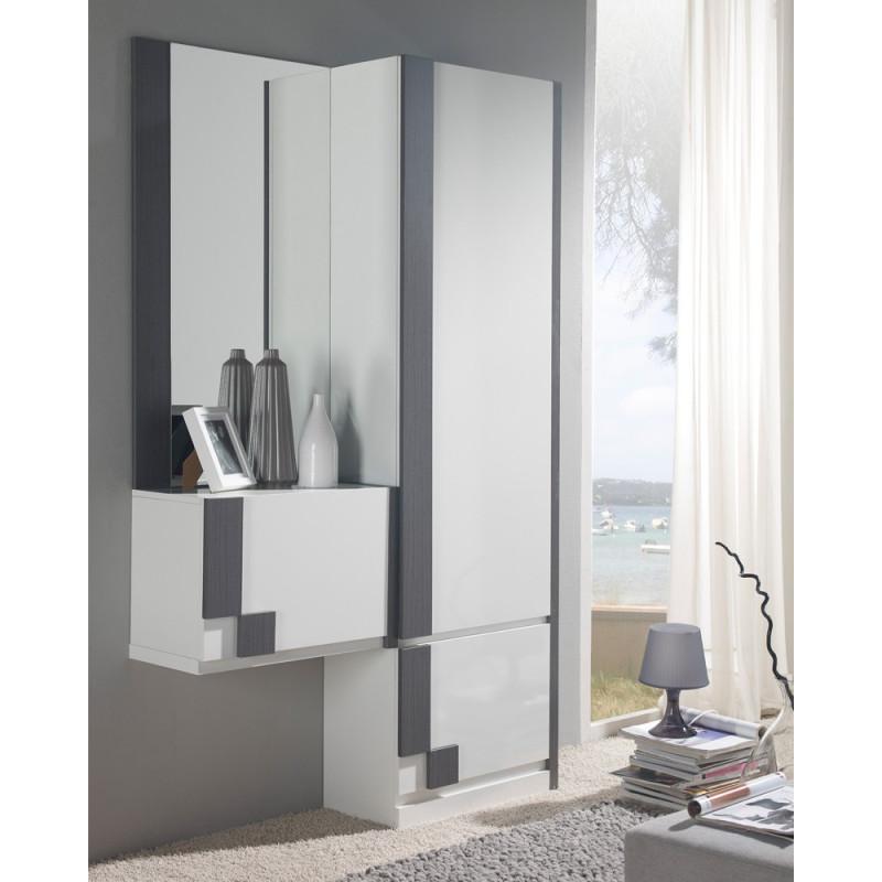 Meuble d'entrée Blanc/Cendre + armoire + miroir - SLIMAN