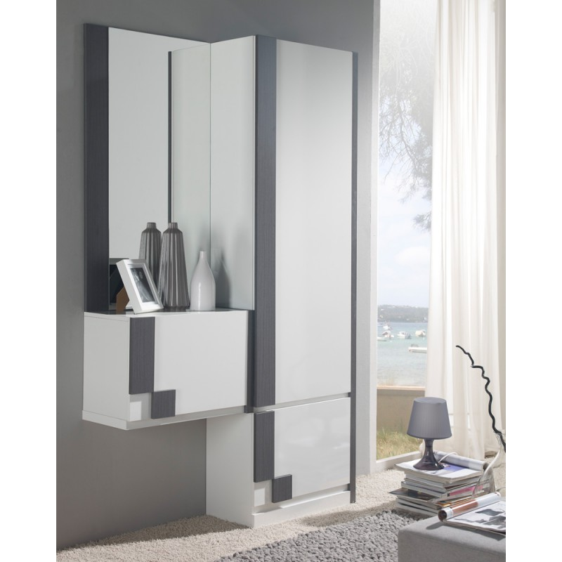 meuble d 39 entr e blanc cendre armoire miroir n sliman. Black Bedroom Furniture Sets. Home Design Ideas