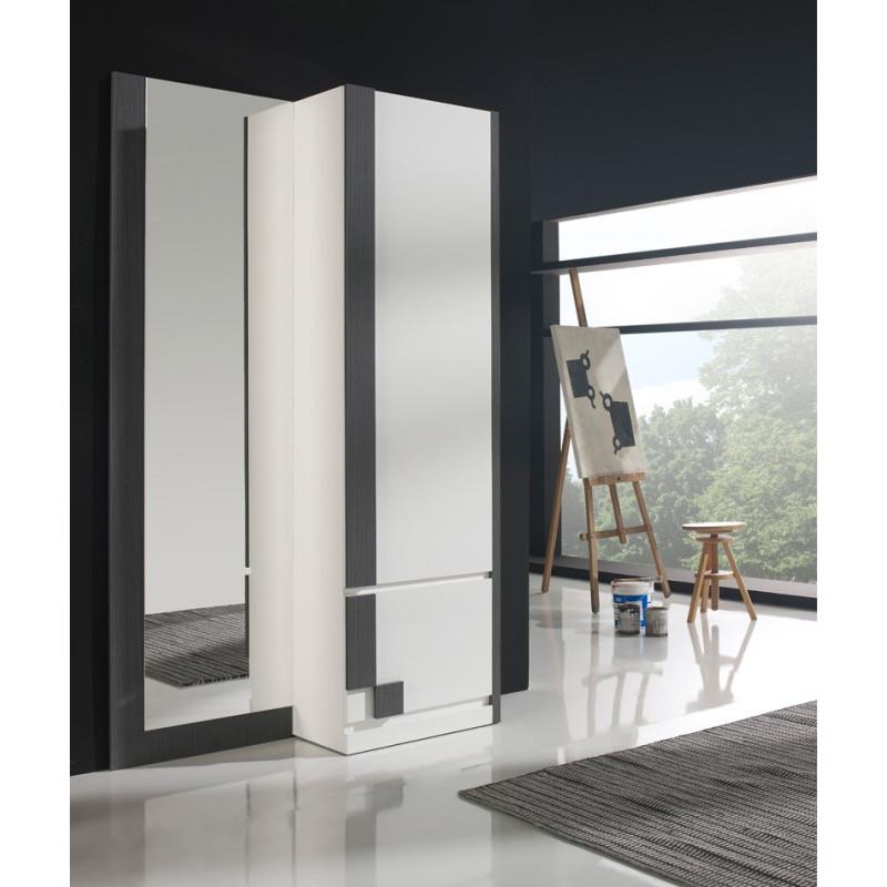 Meuble d'entrée Blanc/Cendre + armoire + miroir n°3 - SLIMAN