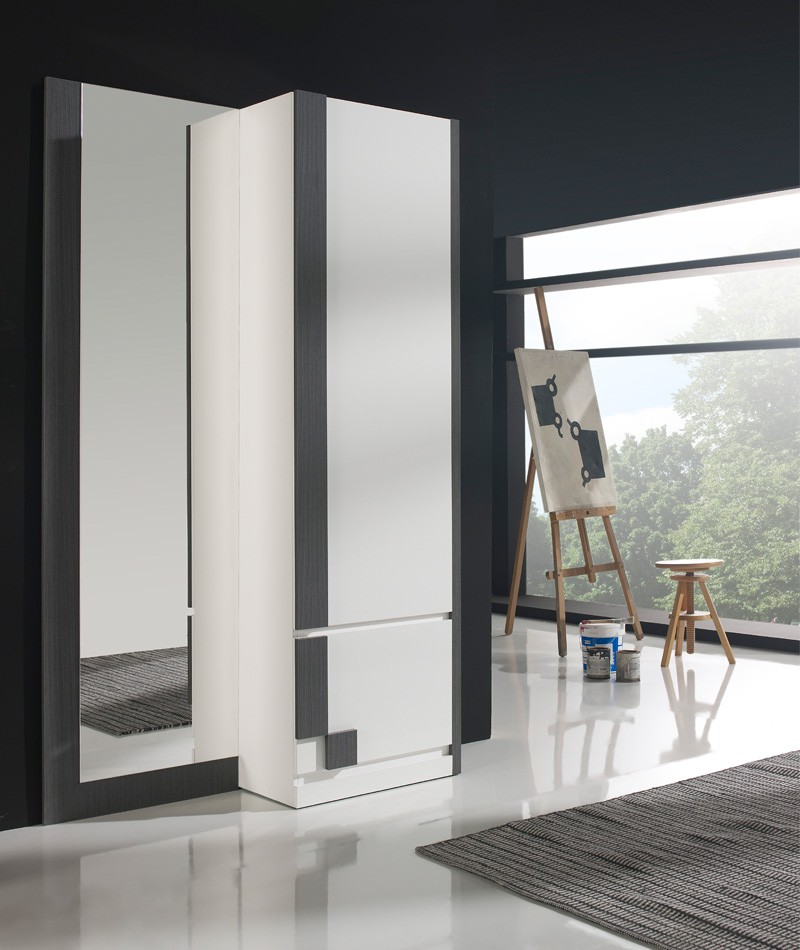 Meuble d'entrée Blanc/Cendre + armoire + miroir - SLIMAN n°3 - L 120 x l 31.6 x H 197