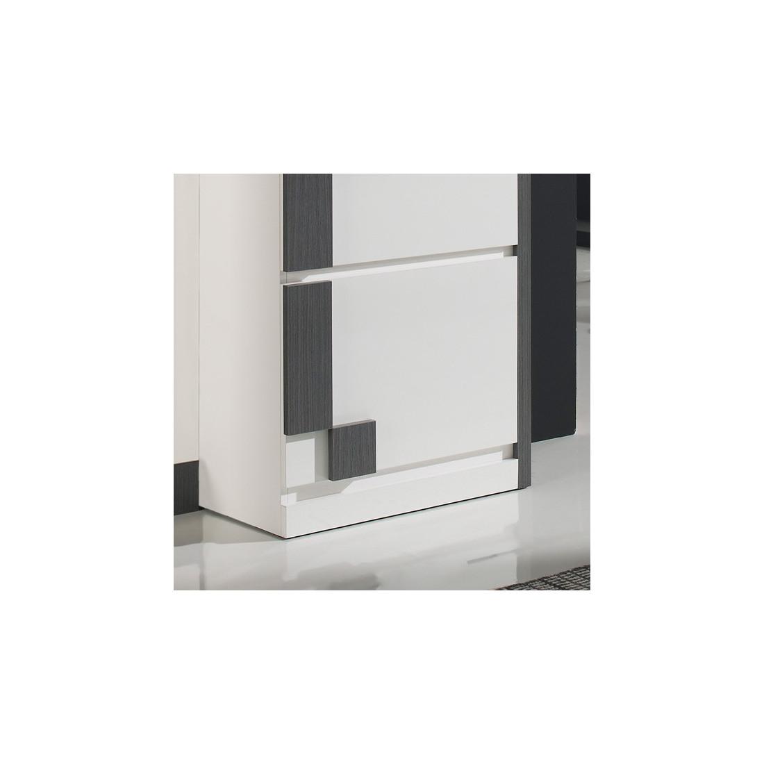 meuble d 39 entr e blanc cendre armoire miroir n 3 sliman. Black Bedroom Furniture Sets. Home Design Ideas