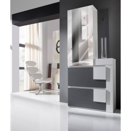 meuble d 39 entr e blanc cendre kamilia univers petits meubles. Black Bedroom Furniture Sets. Home Design Ideas