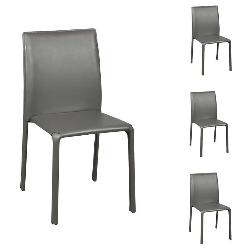 Quatuor de chaises Grises - BOUBLI
