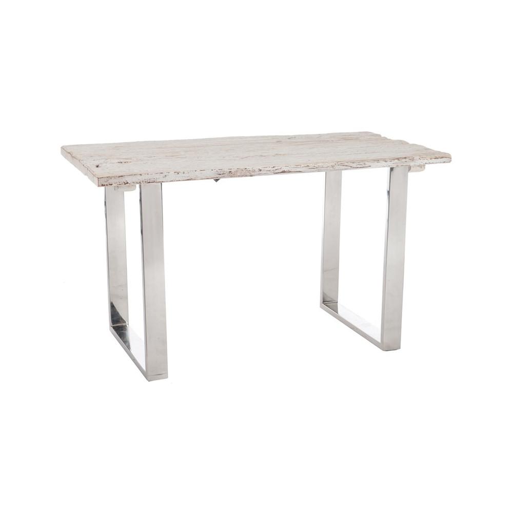 Bureau bois flott blanc et m tal chrom tanjane - Bureau metal et bois ...