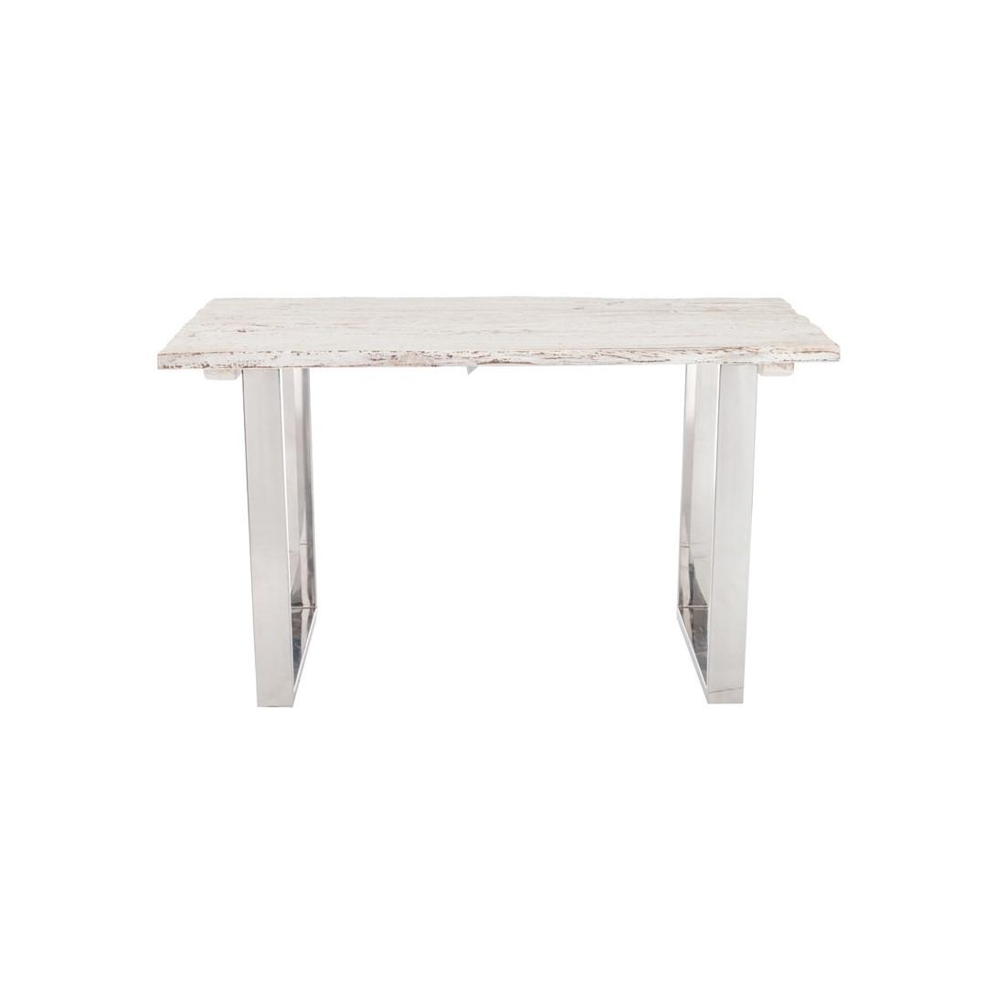 Bureau bois flott blanc et m tal chrom tanjane for Bureau bois blanc