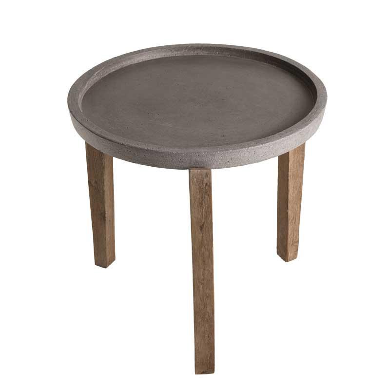 Table d'appoint ronde d'extérieur Béton/Bois acacia - CARL