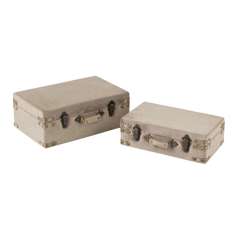 Duo de Coffres de rangement Velours gris - BOCHIAMI