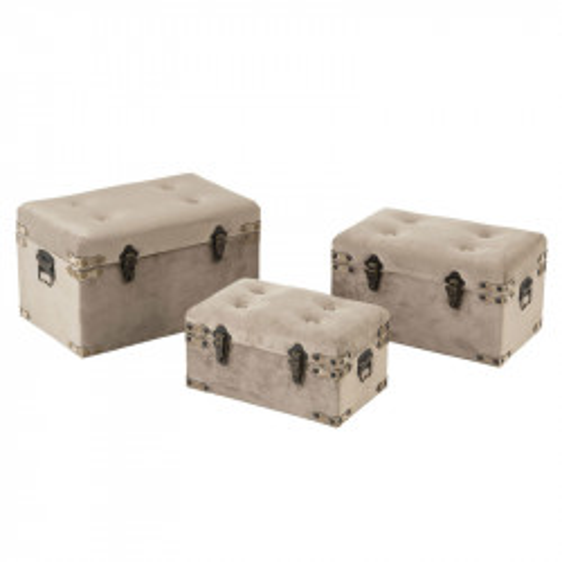 Trio de Coffres de rangement Velours gris - BOCHIAMI