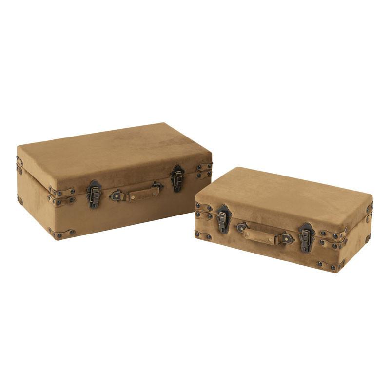 Duo de Coffres de rangement Velours beige - BOCHIAMI