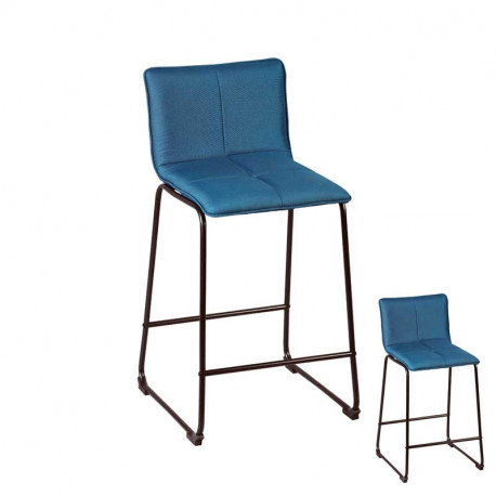 Duo de tabourets de bar Turquoise Tissu/Métal - RANG
