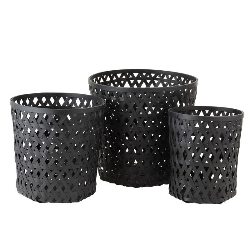 Trio de Paniers Bambou noir - KEICERA