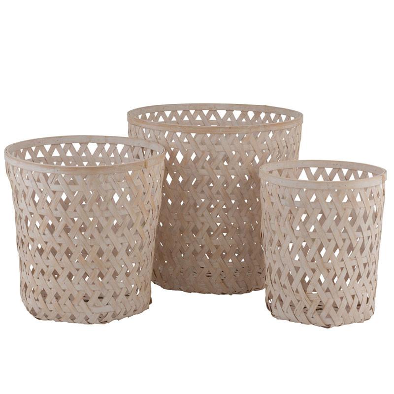 Trio de Paniers Bambou blanc délavé - KEICERA