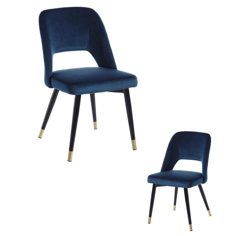 Duo de chaises Métal/Tissu Bleu - YIZI