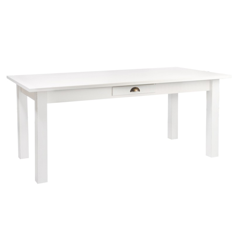 Table allonges en bois blanc univers de la salle for Table cuisine blanche bois