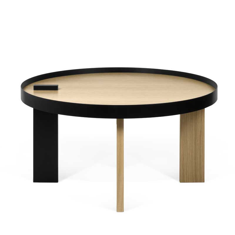 Table Basse Ronde Design Bois Metal Noir Alakano Univers