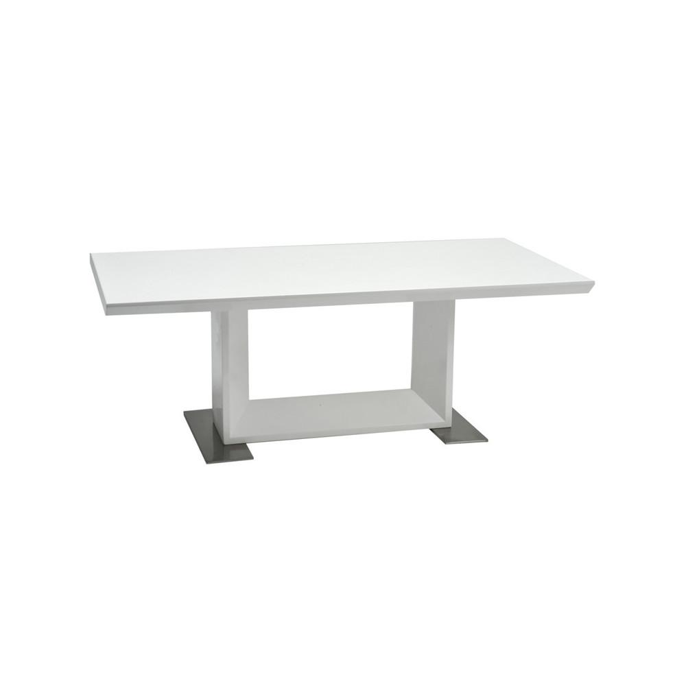 Table basse bois laqu blanc et m tal chrom tokyo univers du salon tousmesmeubles - Table basse blanc laque et bois ...