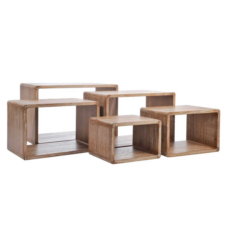Set de 5 tables gigognes bois naturel girolle univers for Table gigogne bois