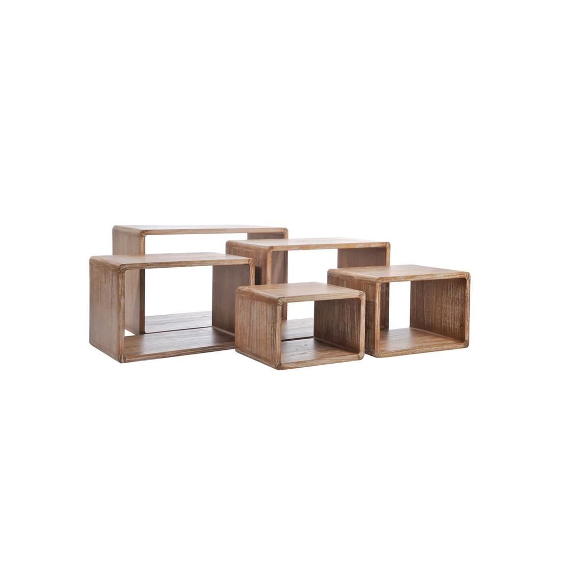 set de 5 tables gigognes bois naturel girolle univers petits meubles tousmesmeubles. Black Bedroom Furniture Sets. Home Design Ideas
