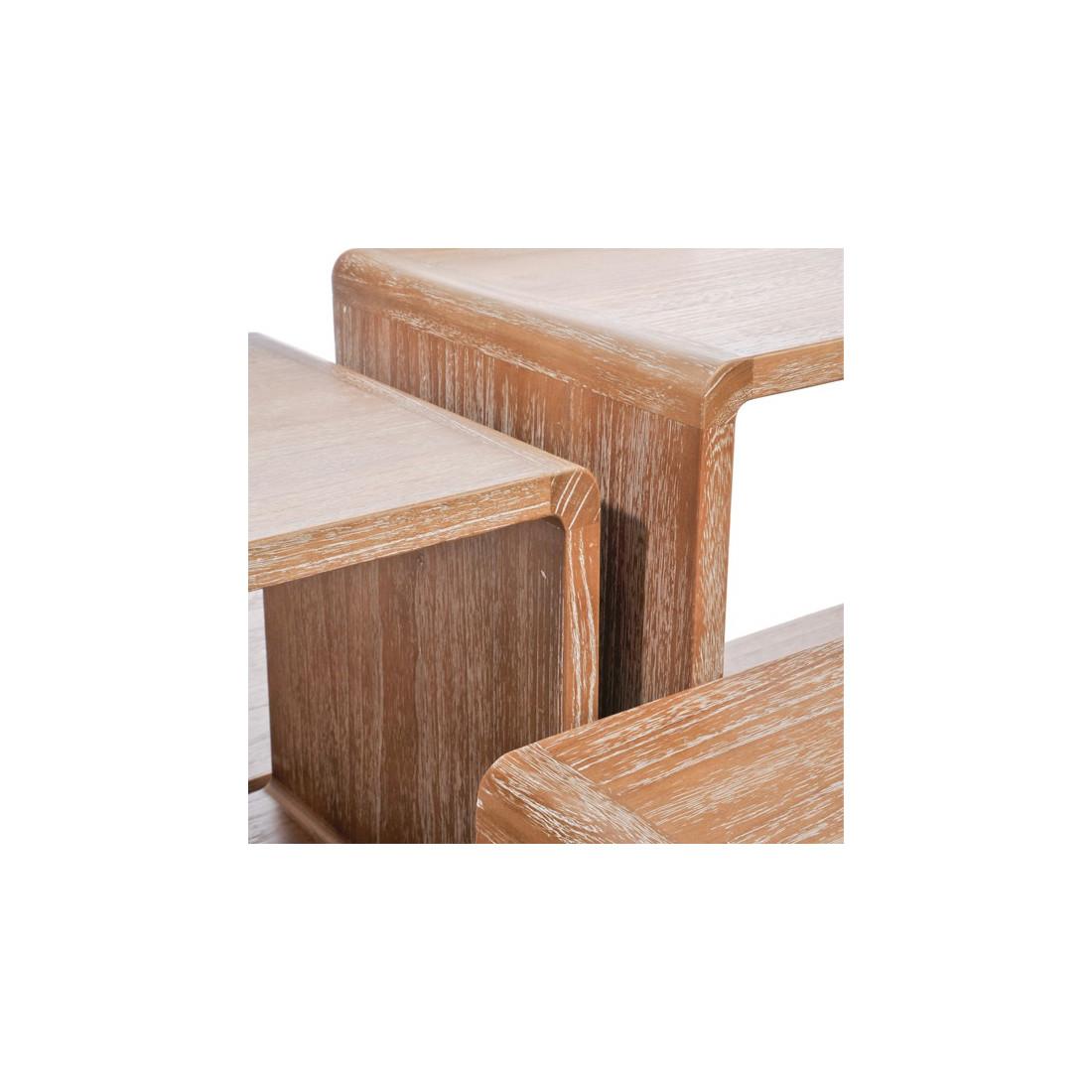 Set De 5 Tables Gigognes Bois Naturel Girolle Univers Petits