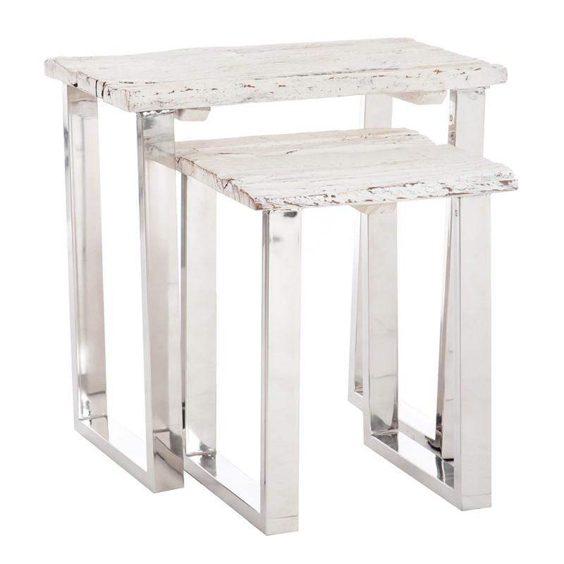 Set de 2 tables gigognes bois flotté blanc et métal - TANJANE