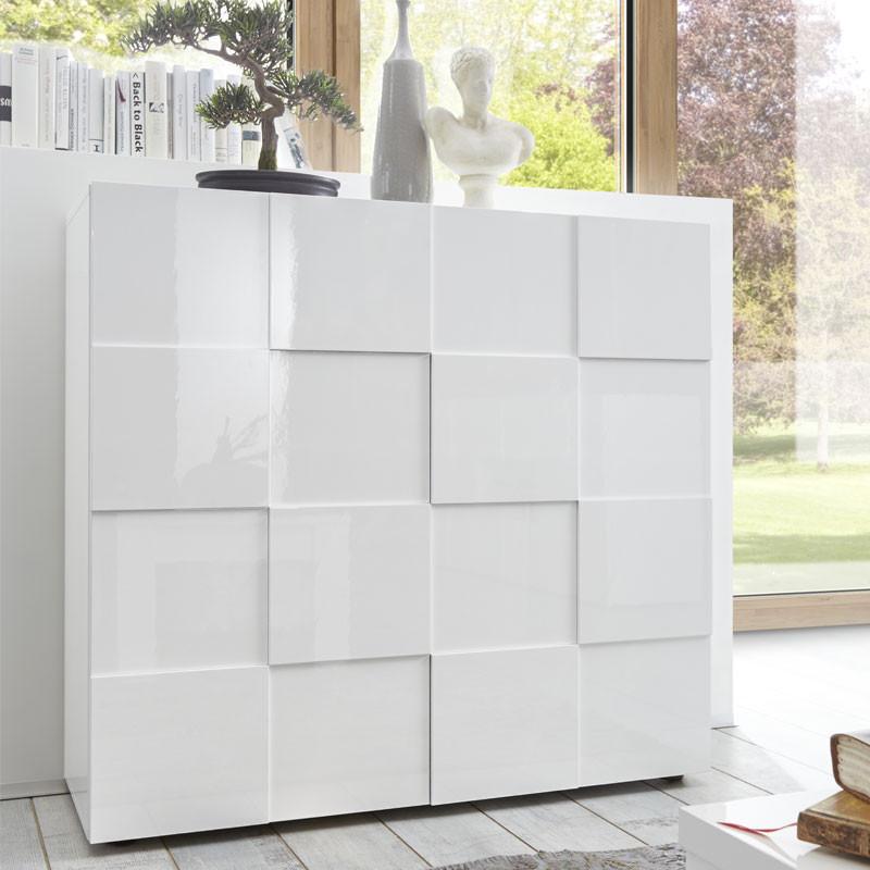 Vaisselier 2 portes Laqué Blanc brillant- TICATO
