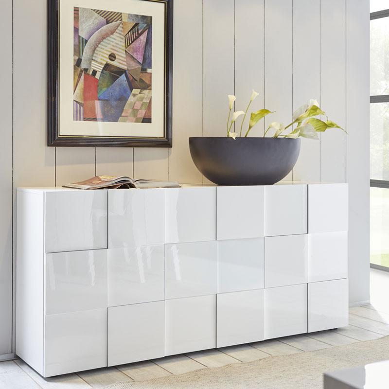 Buffet 3 portes Laqué Blanc brillant - TICATO