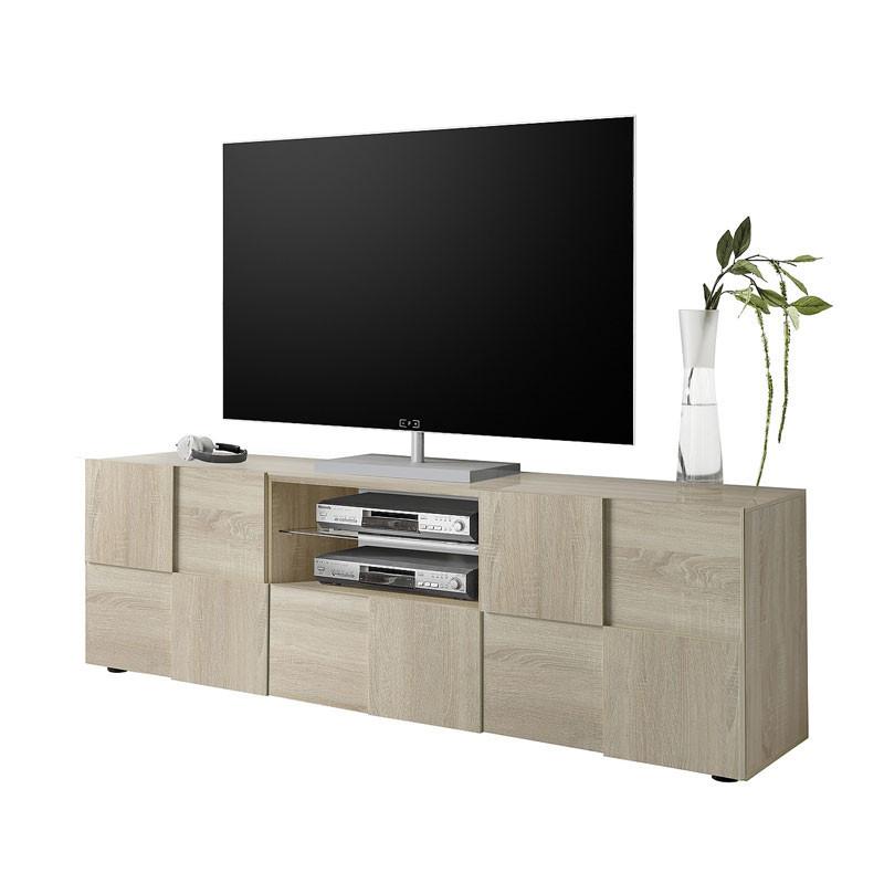 Meuble TV 2 portes 1 tiroir Chêne Clair - TICATO