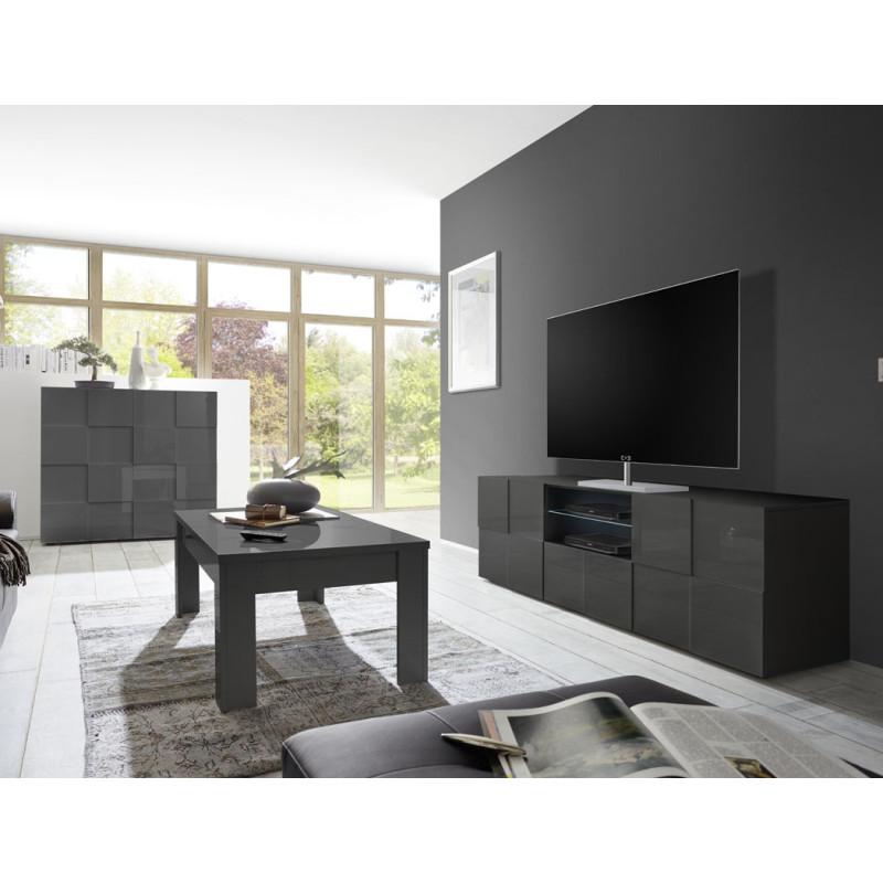 Meuble TV 2 portes 1 tiroir Laqué Gris brillant LED's- TICATO