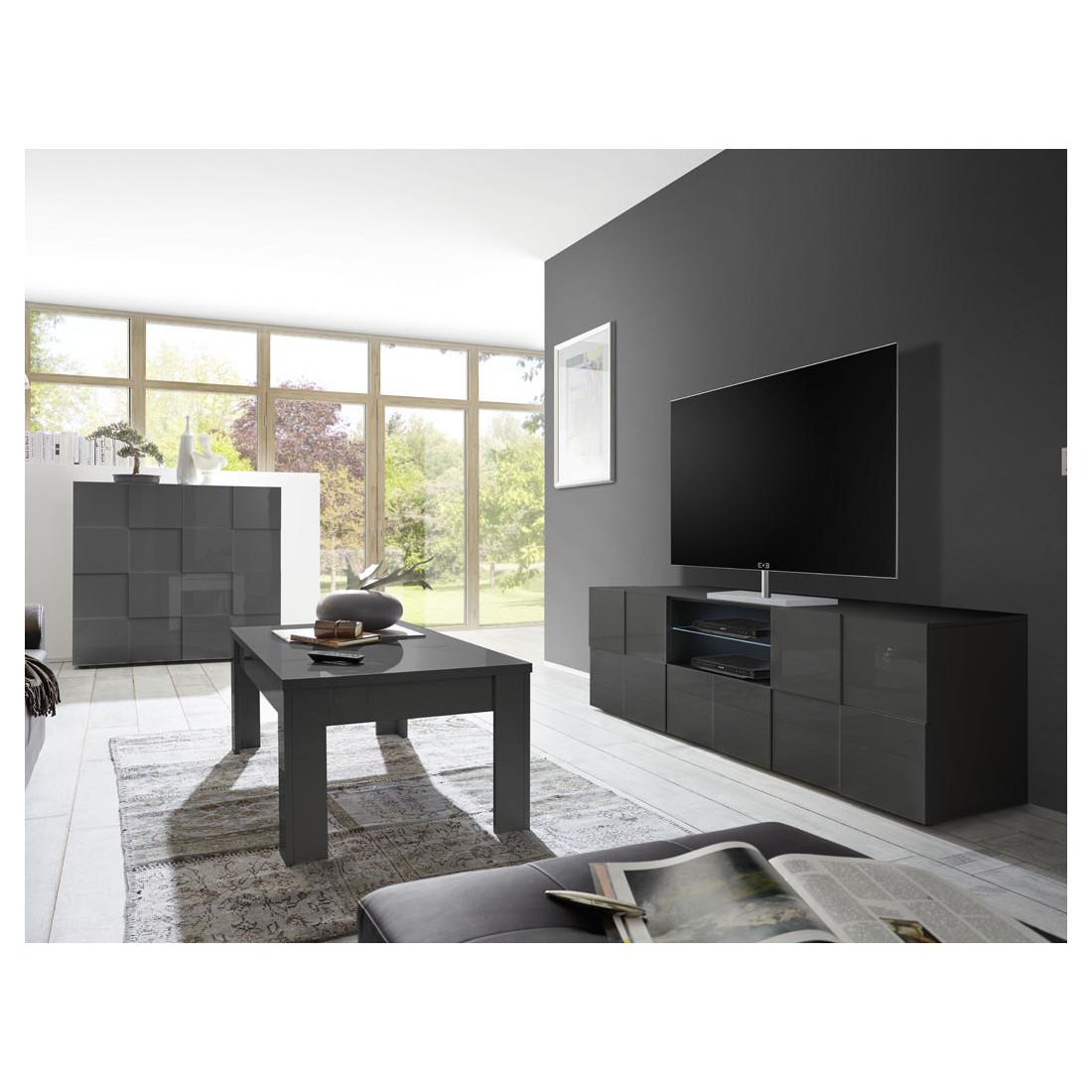 Meuble Tv 2 Portes 1 Tiroir Laque Gris Led S Ticato Salon