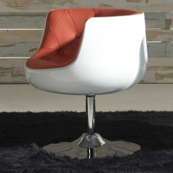 Fauteuil Simili Cuir Rouge - ZOLA