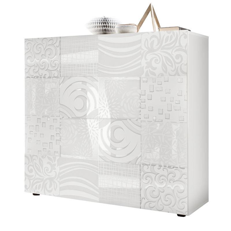 Vaisselier 2 portes Laqué Blanc brillant - BARI