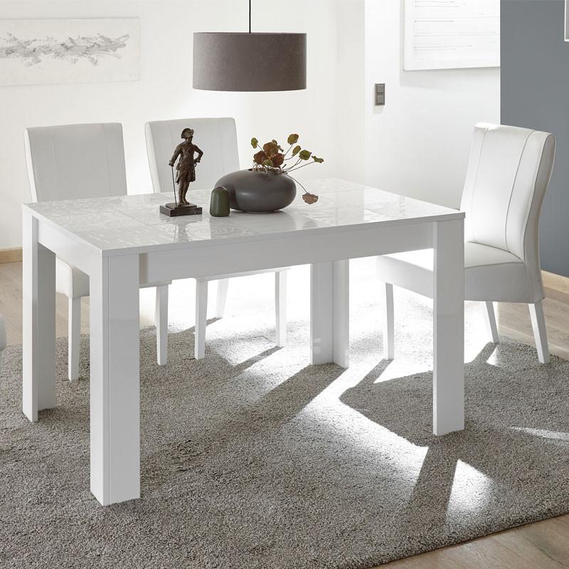 Table de repas à allonge laqué Blanc brillant - BARI