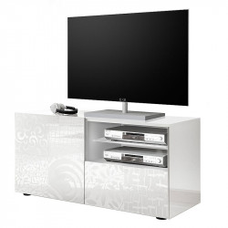 Meuble TV 1 porte 1 tiroir Laqué Blanc brillant - BARI