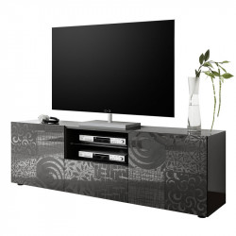Meuble TV 2 portes 1 tiroir Laqué gris brillant - BARI