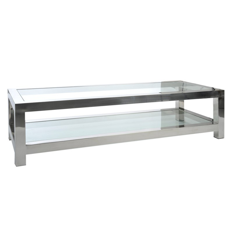 Table de salon m tal gloss - Table salon en verre ...