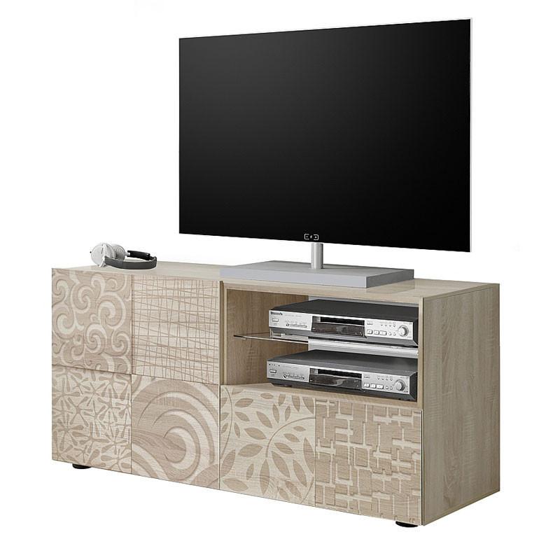 Meuble TV 1 porte 1 tiroir Chêne clair - BARI
