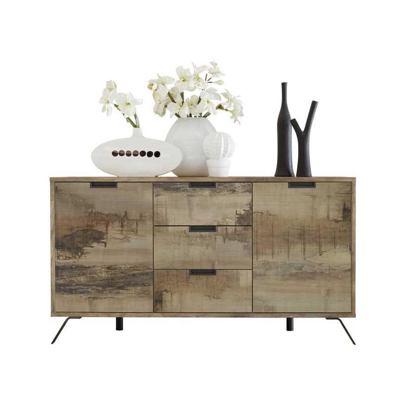 Buffet 2 portes 3 tiroirs Planches bois - PALERME