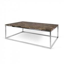 Table basse rectangulaire Chrome/Marbre marron - MULIAN