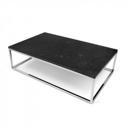 Table basse rectangulaire Chrome/Marbre noir - MULIAN