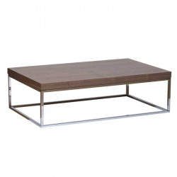 Table basse rectangulaire Chrome/Noyer - MULIAN